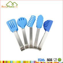 Top quality blue plastic stainless steel mini bbq tongs for children