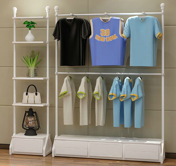 fashion clothes floor display stand with storage for garment store