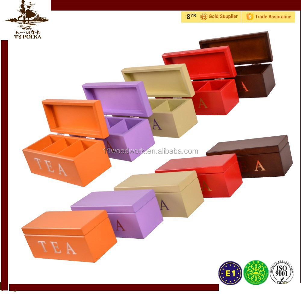colorful Wooden tea box lipton tea box with Small Partitions tea box with various colors