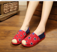 2016 new spring mixed color fashion canvas women flat shoes