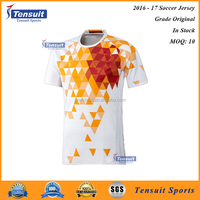 New item football short sleeve shirt polyester breathable jersey training sport set