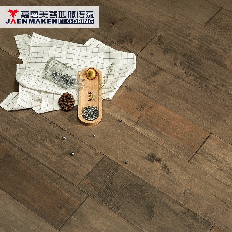 Dalian Floating Timber Parquet Hand Scraped Solid Maple Wood