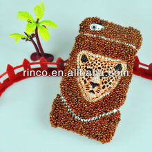 bling crystal rhinestone handmade leopard case cover for iphone 5 5g 5th