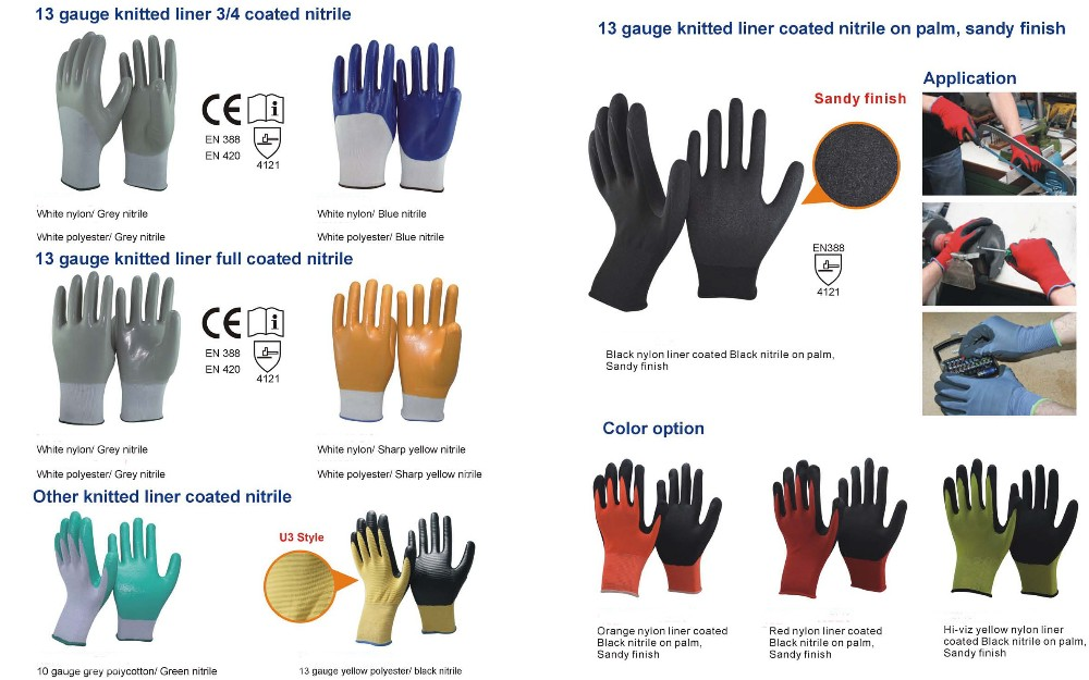 EN388 13 gauge grey polyester/nylon line coated nitrile gloves /abrasion resistant gloves