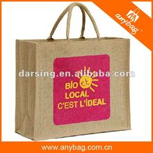 Personalised waterproof jute grocery bag with slogan