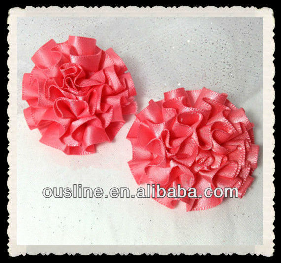 coral satin ribbon ruffled flower, flower supplies