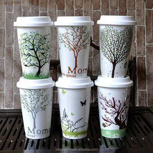 fine porcelain take away sublimation mug with silicon cover,double wall mug,travel mug with silicon lid