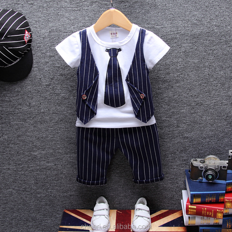 HT-CCS Summer Children Costumes Korean Clothes Baby Boy Clothing Sets 2017 New Fashion Kids Boutique Outfits