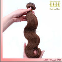 Wholeasle cheap body wave medium brown color 26 inch remy human hair extensions for black women