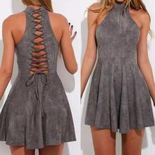 Women Sexy Criss-Cross Lace Up Dress Halter Neck Harness Bandage Cutout Mini Bodycon Dresses For Girls Grey