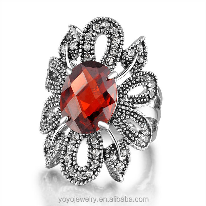 Unique bulk sale stainless steel wholesale jewelry vintage ruby ring