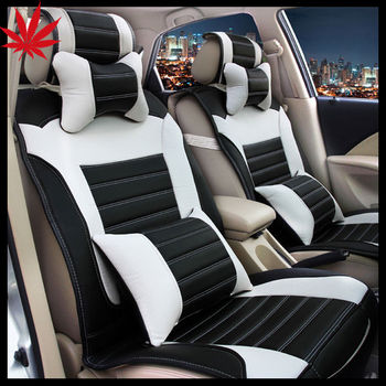 Leather Car Seat Cover Black And White