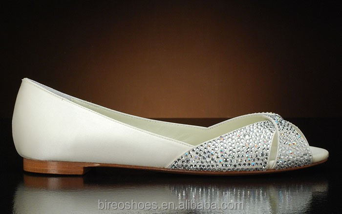 White Bridal flat shoes with crystals