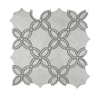 carrara polished tile white and gray square mixed waterjet marble mosaic