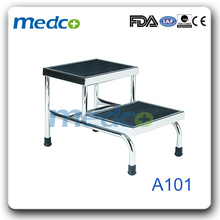 Hospital stainless steel double foot step stool A101