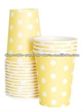 polka dot paper party Tableware manufacturer Dots Spotted Spotty Spots Spot Polkadots 9oz Paper Cups Yellow Polka Dots