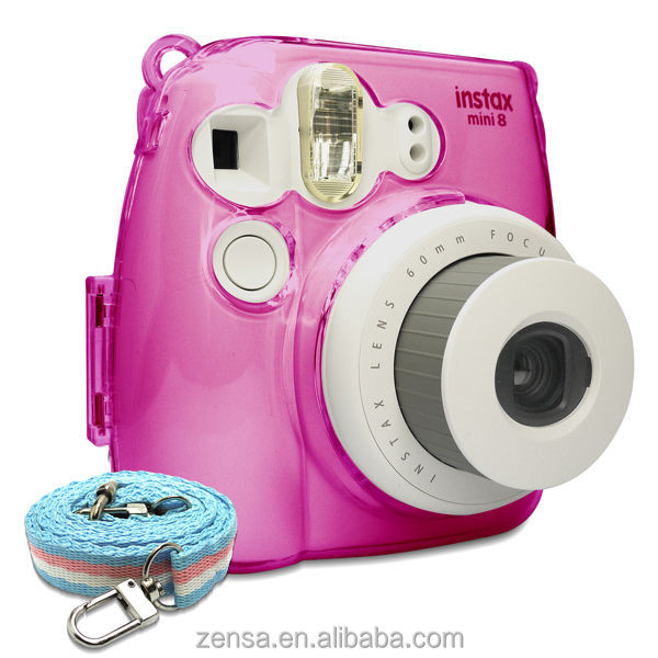 Fujifilm Instax Mini 8 Photo Protection Crystal Camera Case / Strap - Pink