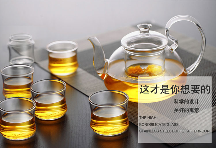 Heat-resistant glass tea pot with a filtering pot ,Food grade large capacity health tea set