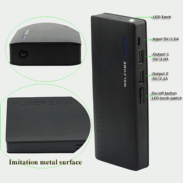 New product 2015 imitation metal Dual usb power bank charger for ipad iPhone mobile phone