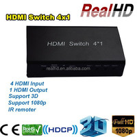 VGA RCA Full HD 1080P Switcher 4 Port 1 Way 3D Support