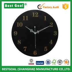 Black design non-sticking glass wall clock