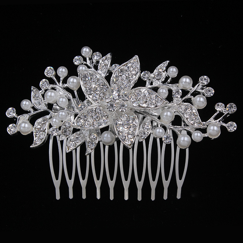European and American style white rhinstone crown bride wedding bridal hair jewelry headdress hair comb WC023