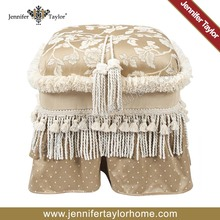 Upholstered living room furniture Heirloom Rectangle Ottoman Tassel Trim rest footstool