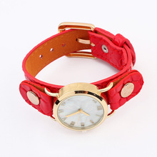 High quality genuine leather watch jewelry vintage leather watch bracelet for women