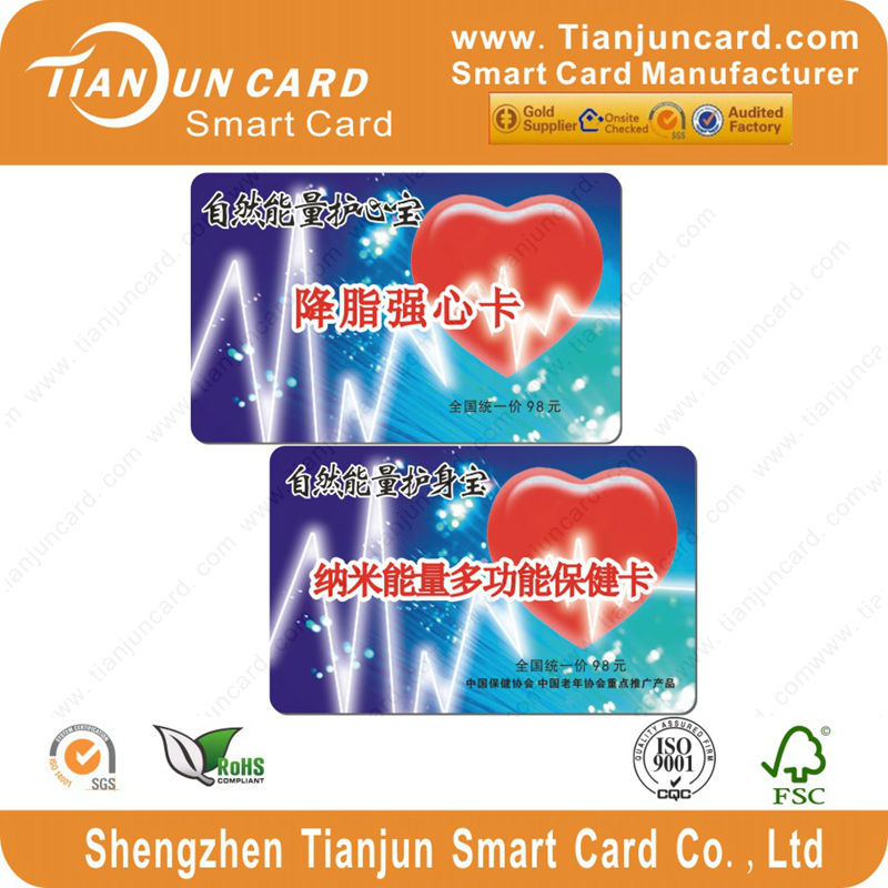 Powerful Scalar Energy Card with pvc energetics card