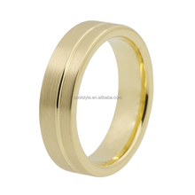 Gold rings without stones flat band tungsten carbide rings for women