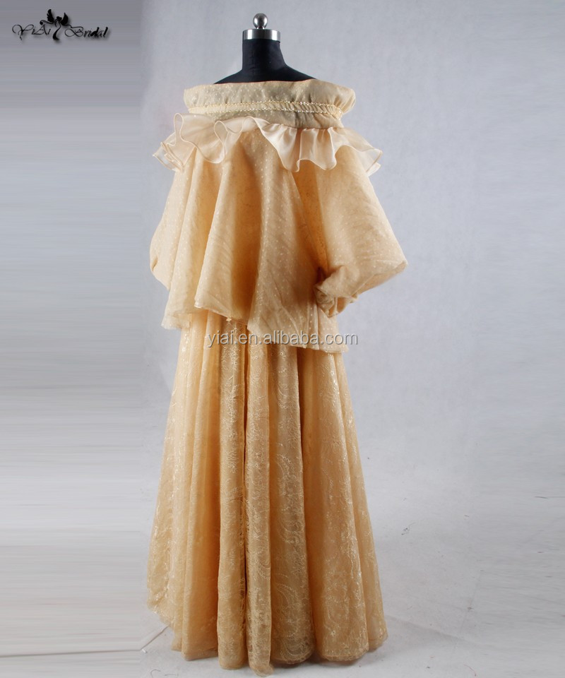 RSE618 Yellow Saudi Arabia Long Sleeve Muslim Women Dress Pictures Evening Dress