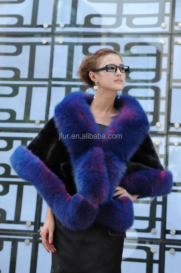 2016 New Luxury Mink Fur Poncho Cape With Fox Collar Tongxiang Janefur Factory