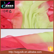 2017 wholesales China 100%real silk gradient ombre chiffon fabric