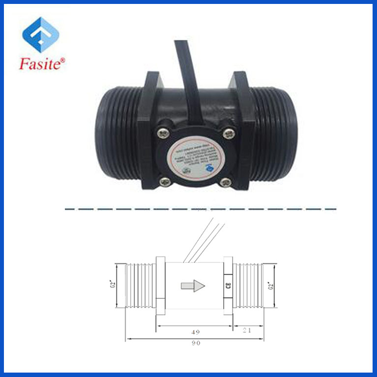 "DN50 G2"" rate 3~200L/min Hall Magnetic plastic water flow sensor price for pump"