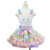 2014 Easter Pastel Chevron Pettiskirt Plus Rhinestone Bunny White Tank Top 1-7Y