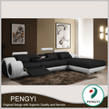 made in china black leather sofa