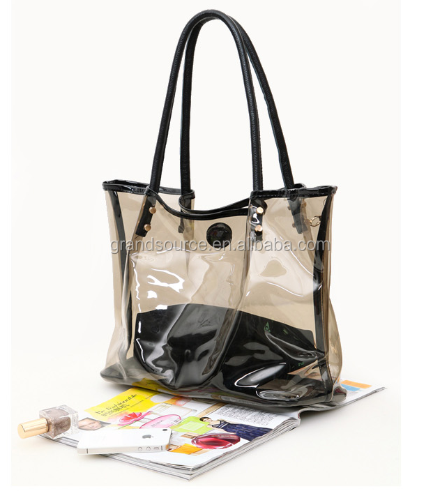 Hot Sale tote shopping handbag with Clear PVC tiny transparent plastic bag