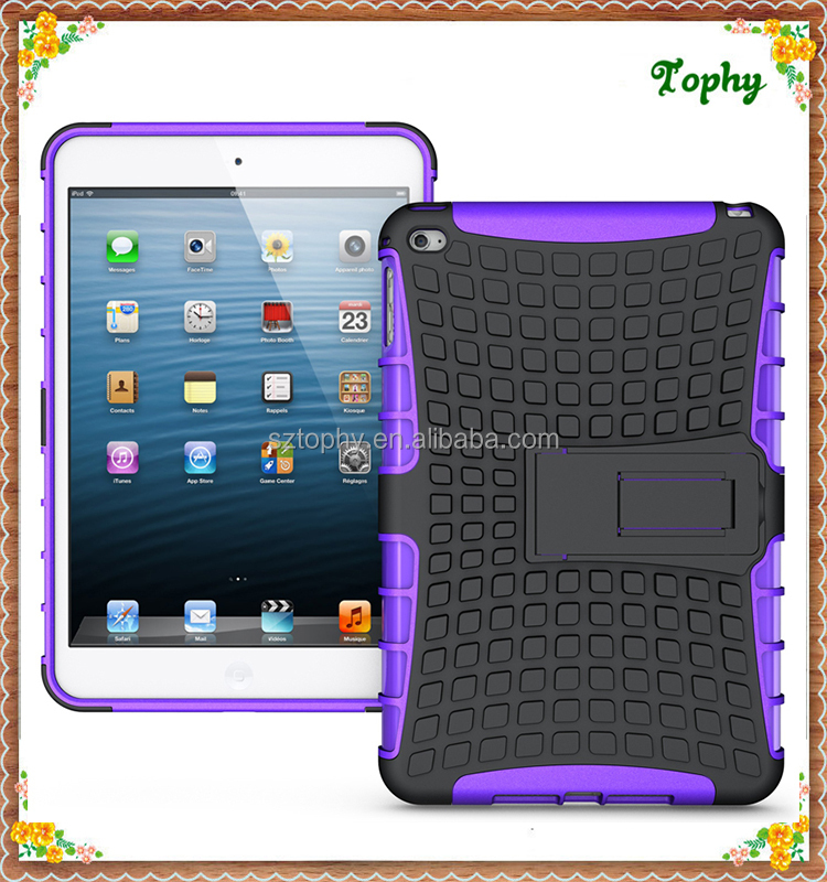 For ipad Mini 4 Tablet Case, For ipad Mini 4 Plastic TPU Case With Kickstand,For ipad mini 4 Kids Cover Hybrid Combo Case
