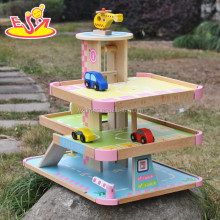 wholesale new design children wooden parking garage toy W04B050