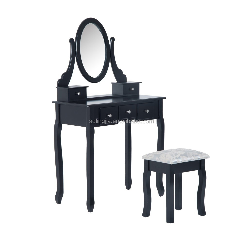 Wood Bedroom Mirror Movable Modern Dressing Table With Chair