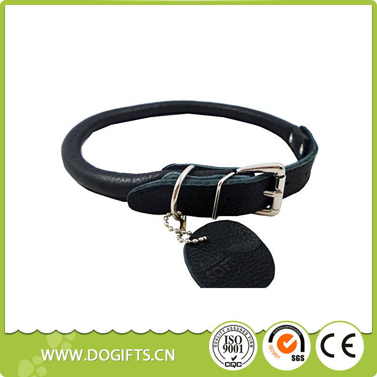 Leather Rolled Dog Collar Medium Neck Size Perfect Collar for Every Dog with Heavy Duty D-ringDog Leashes and Collars Dogift0737