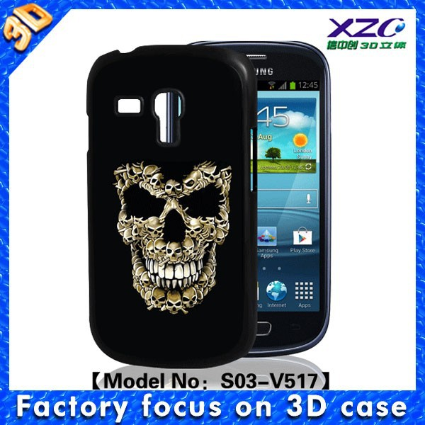 Hard plastic material 3D skull image case for samsung galaxy s3 mini