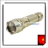 T6063-T6 3W Red Light Waterproof Strong Light LED Signal Flash Torch Silver