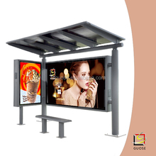 solar led street light outdoor laser advertising photo-frame with led light inside power saving bus shelter
