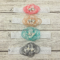 Hottest! Boutique beautiful lace newborn baby grils infant pearl headband