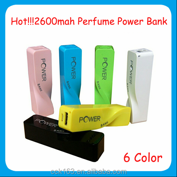 Portable power bank,Colorful factory price mobile phone power bank perfume power bank 2600mah