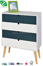 SH wood white 3 drawer blue chest for bedroom with leg