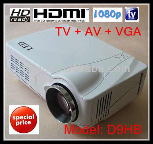 Promotion! low cost led tv projector built in TV tuner, 1080p