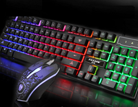 Wired 104Keys Backlit Multimedia Ergonomic Gaming Keyboard and Mouse with Laser Printing + 1200DPI 3D mouse