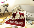 Top quality heavy deer pattern moving blanket wholesale chunky knit wool blanket